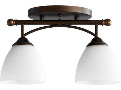 Quorum International Brooks Oiled Bronze Two-Lights Semi-Flush Mount Light QM3250286