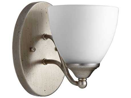 Quorum International Brooks Aged Silver Leaf with Satin Opal Wall Sconce QM5550160