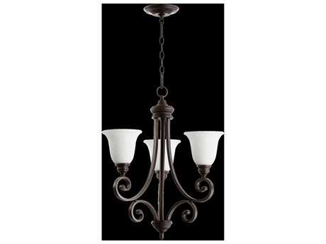 Quorum International Bryant Oiled Bronze With Satin Opal Three-Light 21'' Wide Chandelier QM61543186
