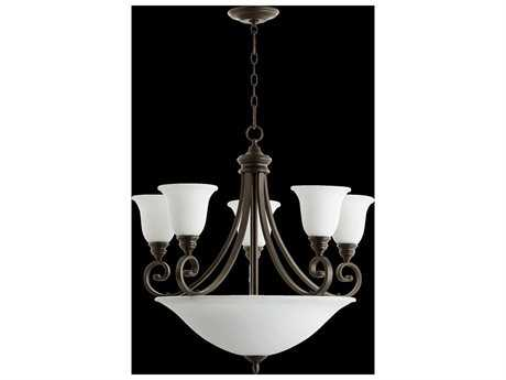 Quorum International Bryant Oiled Bronze With Satin Opal Nine-Light 29'' Wide Chandelier QM62549186