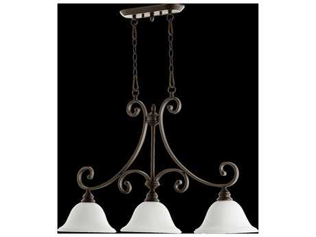 Quorum International Bryant Oiled Bronze With Satin Opal Three-Light Island Ceiling Light QM65543186
