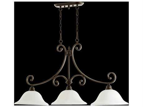 Quorum International Bryant Oiled Bronze With Satin Opal Three-Light Island Ceiling Light QM66543186