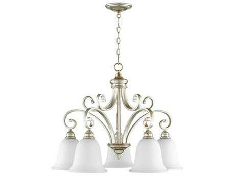 Quorum International Bryant Aged Silver Five-Light 30'' Wide Mini Chandelier QM6354560