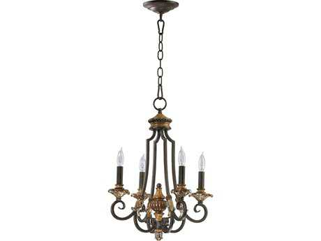 Quorum International Capella Toasted Sienna with Golden Fawn Four-Light 15'' Wide Chandelier QM6101444