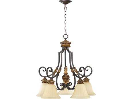 Quorum International Capella Toasted Sienna with Golden Fawn Five-Light 26'' Wide Chandelier QM6401544