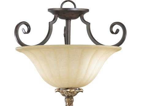 Quorum International Capella Toasted Sienna with Golden Fawn Two-Lights Semi-Flush Mount Light QM28011544