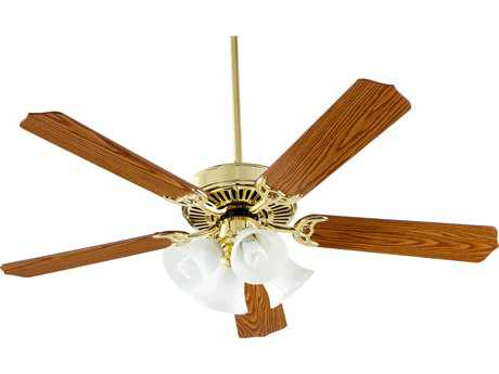 Quorum International Polished Brass 52 Inch Indoor Ceiling Fan with Light QM775258102
