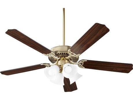Quorum International Capri Ix Aged Brass Four-Light 52'' Wide Indoor Ceiling Fan with Oiled Bronze / Walnut Blades QM7525080