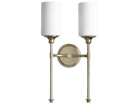 Quorum International Celeste Aged Silver Leaf with Satin Opal Two-Light Wall Sconce QM5309260