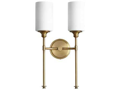 Quorum International Celeste Aged Brass with Satin Opal Two-Light Wall Sconce QM5309280