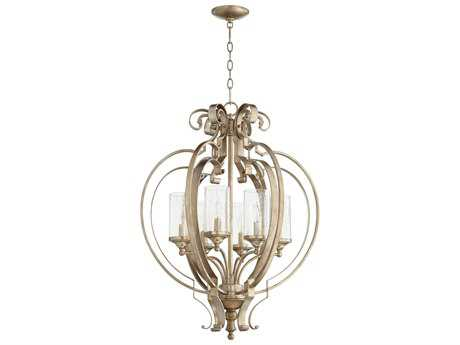 Quorum International Chalon Aged Silver Leaf with Clear Seeded Six-Light 23'' Wide Chandelier QM6180660