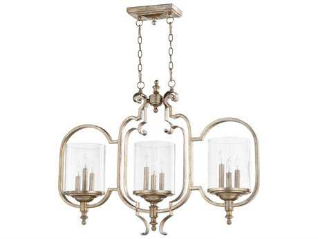 Quorum International Chalon Aged Silver Leaf with Clear Seeded Nine-Light 37'' Wide Island Light QM6580960