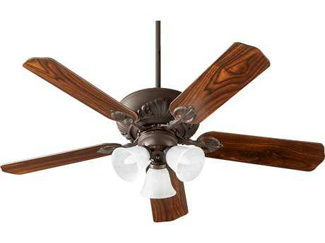Quorum International Chateaux Uni-Pack Oiled Bronze with Faux Alabaster Glass Three-Light 52'' Wide Indoor Ceiling Fan QM785251686