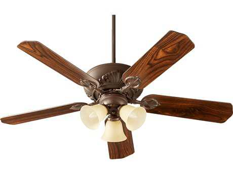 Quorum International Chateaux Uni-Pack Oiled Bronze with Amber Scavo Glass Three-Light 52'' Wide Indoor Ceiling Fan QM785251786
