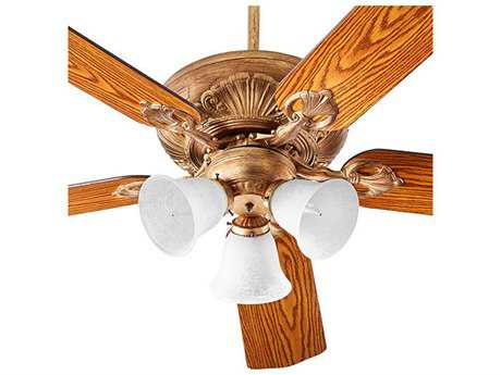 Quorum International Chateaux Uni-Pack Vintage Gold Leaf with White Linen Glass Three-Light 60'' Wide Indoor Ceiling Fan QM786051430