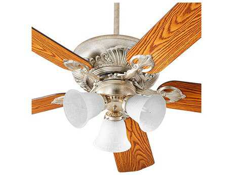 Quorum International Chateaux Uni-Pack Aged Silver Leaf with White Linen Glass Three-Light 60'' Wide Indoor Ceiling Fan QM786051460