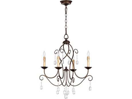 Quorum International Cilia Oiled Bronze Four-Light 22'' Wide Chandelier