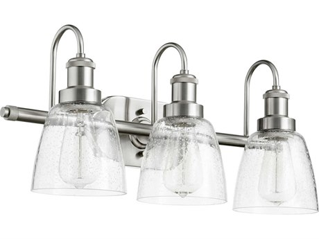 Quorum International Satin Nickel with Clear Seeded Glass Three-Light 22.5'' Wide Vanity Light