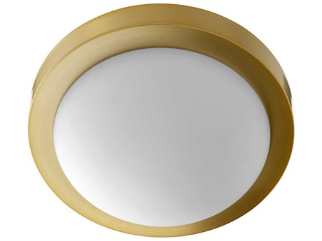 Quorum International Contempo Aged Brass with OPAL Glass Two-Light 11'' Wide Flush Mount Light QM35051180