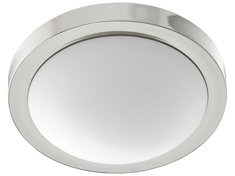 Quorum International Contempo Polished Nickel with Satin Opal Glass Two-Light 13'' Wide Flush Mount Light QM35051362