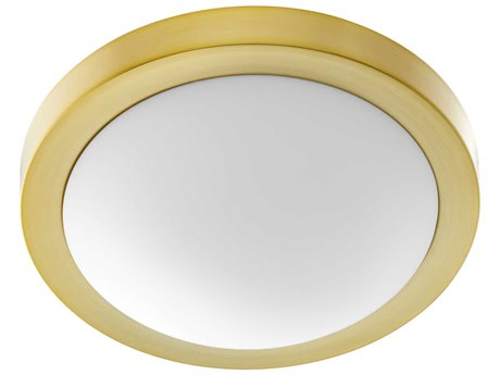 Quorum International Contempo Aged Brass with Satin Opal Glass Two-Light 13'' Wide Flush Mount Light QM35051380