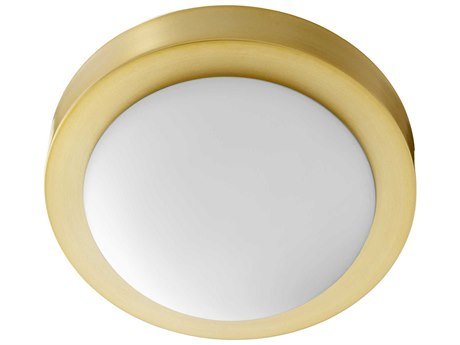 Quorum International Contempo Aged Brass with Satin Opal Glass 9'' Wide Flush Mount Light QM3505980