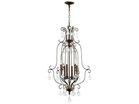 Quorum International Cuboid Entry Vintage Copper Six-Light 21'' Wide Chandelier QM6705639