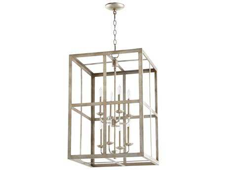 Quorum International Cuboid Entry Aged Silver Leaf Eight-Light 18'' Wide Chandelier QM6732860