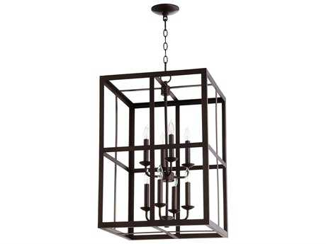 Quorum International Cuboid Entry Oiled Bronze Eight-Light 18'' Wide Chandelier QM6732886