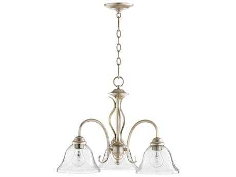 Quorum International Cuboid Aged Silver Leaf with Clear/Seeded Three-Light 21'' Wide Mini Chandelier QM6410360