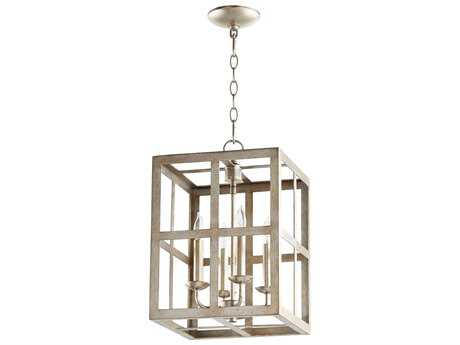 Quorum International Cuboid Entry Aged Silver Leaf Four-Light 12'' Wide Mini Chandelier QM6732460