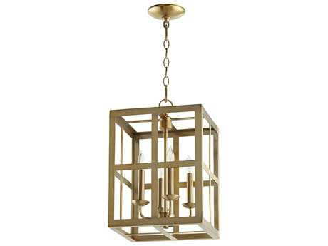Quorum International Cuboid Entry Aged Brass Four-Light 12'' Wide Mini Chandelier QM6732480