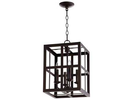 Quorum International Cuboid Entry Oiled Bronze Four-Light 12'' Wide Mini Chandelier QM6732486