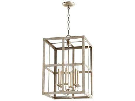 Quorum International Cuboid Entry Aged Silver Leaf Six-Light 15'' Wide Mini Chandelier QM6732660