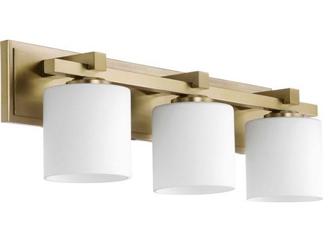 Quorum International Cylinder Aged Brass with Satin Opal Glass Three-Light 24'' Wide Vanity Light QM5369380