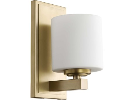 Quorum International Cylinder Aged Brass with Satin Opal Glass 5'' Wide Vanity Light QM5669180