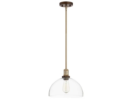 Quorum International Dome Aged Brass and Oiled Bronze with Clear Glass 12'' Wide Mini-Pendant Light QM8768086