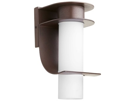 Quorum International Downing Oiled Bronze with Satin Opal Glass 6'' Wide Outdoor Wall Light QM75086