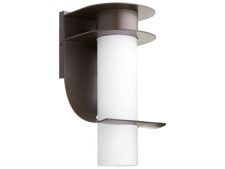 Quorum International Downing Oiled Bronze with Satin Opal Glass 8'' Wide Outdoor Wall Light