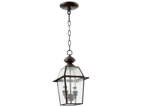 Quorum International Duvall Bronze with Clear Seeded Glass Two-Light Outdoor Hanging Light QM7282136