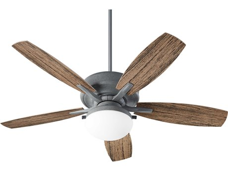 Quorum International Eden Zinc Two-Light 52'' Wide LED Outdoor Ceiling Fan with Walnut Blades QM1852517