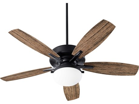 Quorum International Eden Noir Two-Light 52'' Wide LED Outdoor Ceiling Fan with Walnut Blades QM1852569