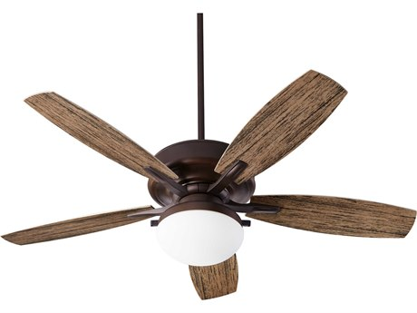 Quorum International Eden Oiled Bronze Two-Light 52'' Wide LED Outdoor Ceiling Fan with Walnut Blades QM1852586