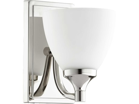 Quorum International Enclave Polished Nickel with Satin Opal Glass 6'' Wide Vanity Light QM5459162