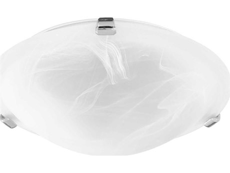 Quorum International Faux Polished Nickel with Faux Alabaster Glass Two-Light 12'' Wide Flush Mount Light