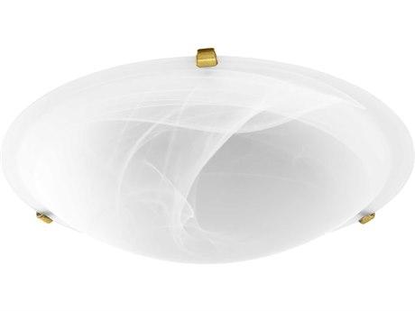 Quorum International Aged Brass with Faux Alabaster Glass Four-Light 20'' Wide Flush Mount Light QM30002080