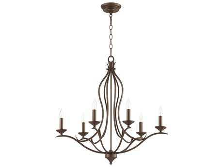 Quorum International Flora Oiled Bronze Six-Light 27'' Wide Chandelier QM613686