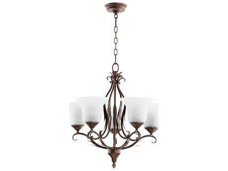 Quorum International Flora Vintage Copper Five-Light 24'' Wide Chandelier QM6272539