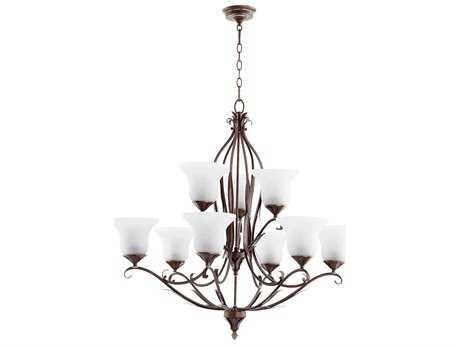 Quorum International Flora Vintage Copper Nine-Light 36'' Wide Chandelier QM6272939