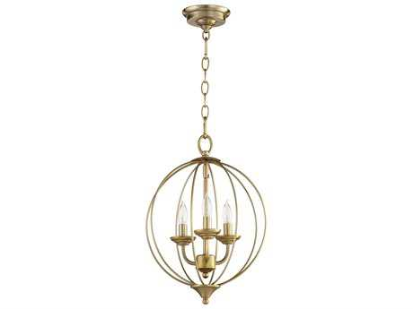 Quorum International Flora Aged Brass Three-Light 13'' Wide Mini Chandelier QM623380